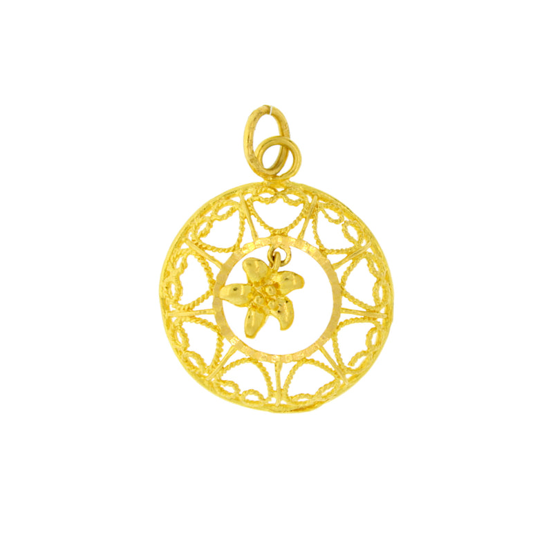 Round Pendant with Hanging Flower