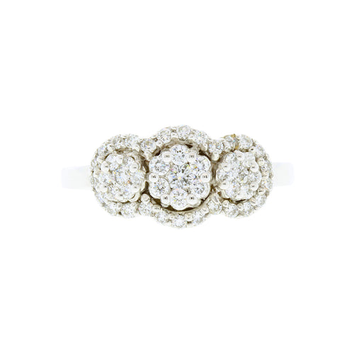 Triple Halo Diamond Ring