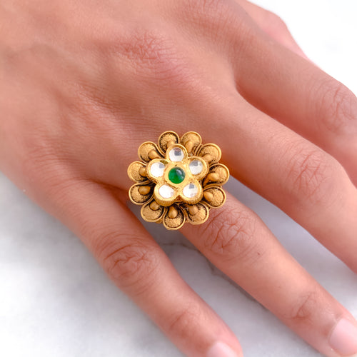 Antique Flower with Kundan Ring