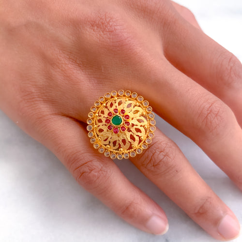 Circle Of Stones in Flower Ring