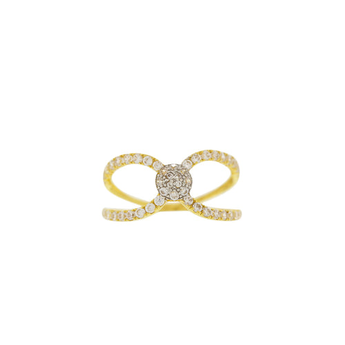 TWO-TONE RING WITH CZ STONES