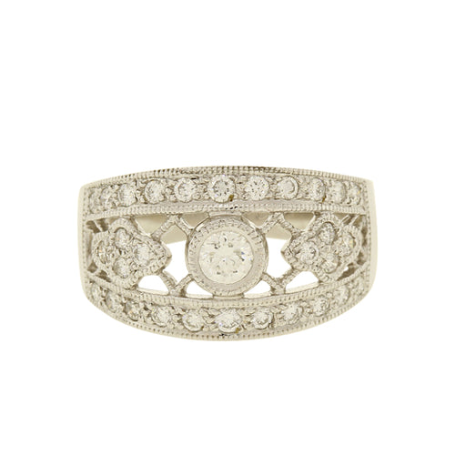 Diamond Statement Ring With Solitaire Center