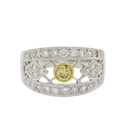Diamond Ring With Yellow Diamond Accent
