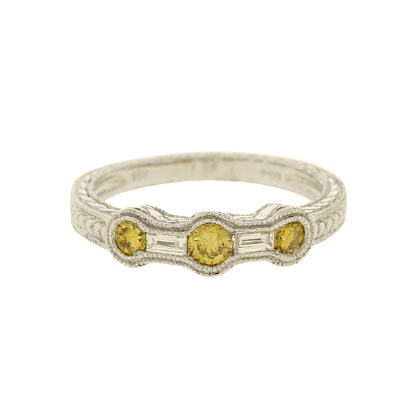 Diamond Ring With 3 Yellow Diamond Accents