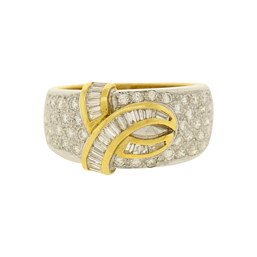 Diamond Statement Ring With Baguette Diamond Accents