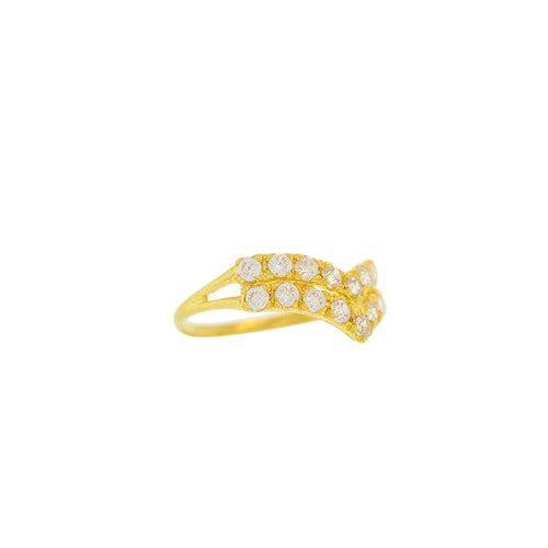 V-SHAPED GOLD RING WITH CZ STONES