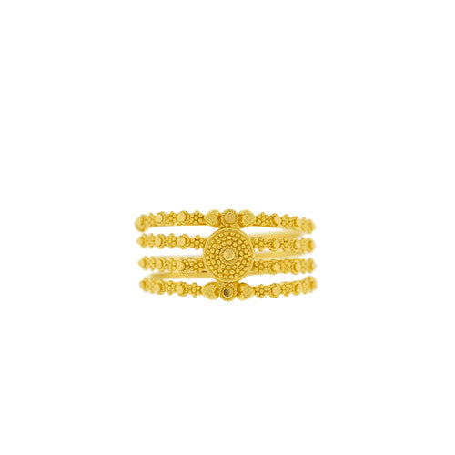 FOUR-ROWED ROUND GOLD RING