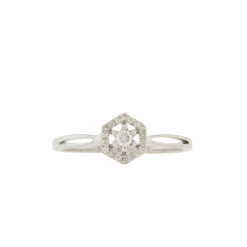 Modern White Gold Diamond Ring