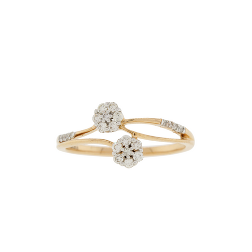 Floral Rose Gold Diamond Ring