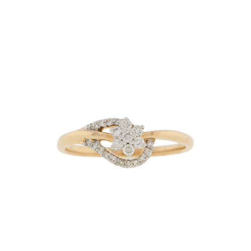 Curved Rose Gold Diamond Ring