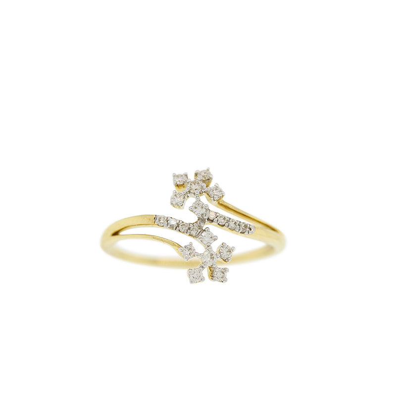 DIAMOND RING WITH DOUBLE FLOWER DESIGN