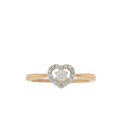 ROSE GOLD DIAMOND RING WITH HEART CENTER