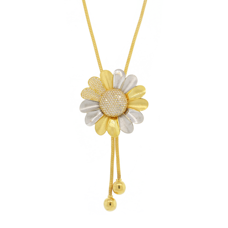 Two-Tone Floral Necklace
