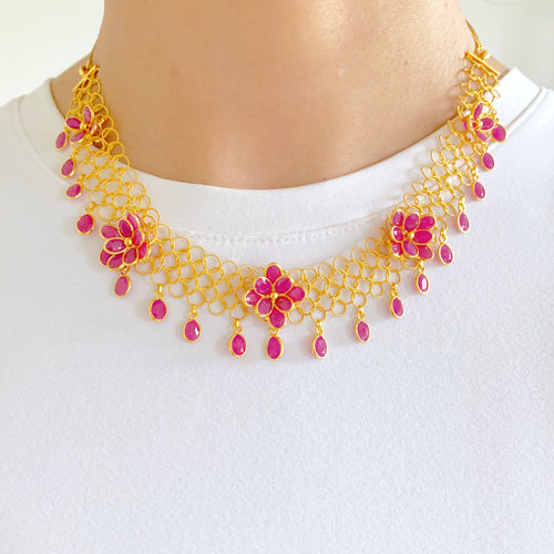 Floral Ruby Necklace Set