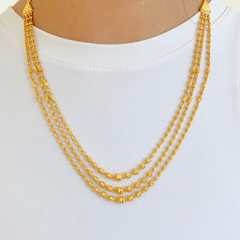 Three Lara Gold Necklace Set