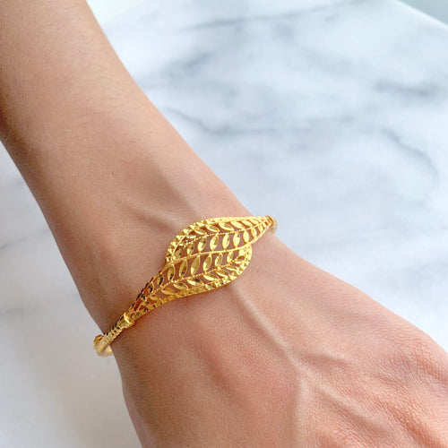 Reflective Leaf Bangle Bracelet