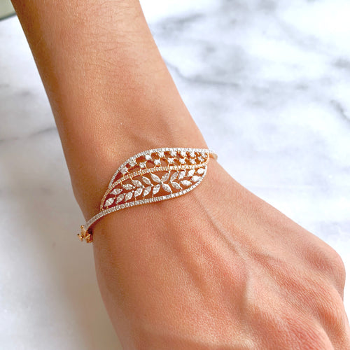 Double Petal Diamond Bangle Bracelet