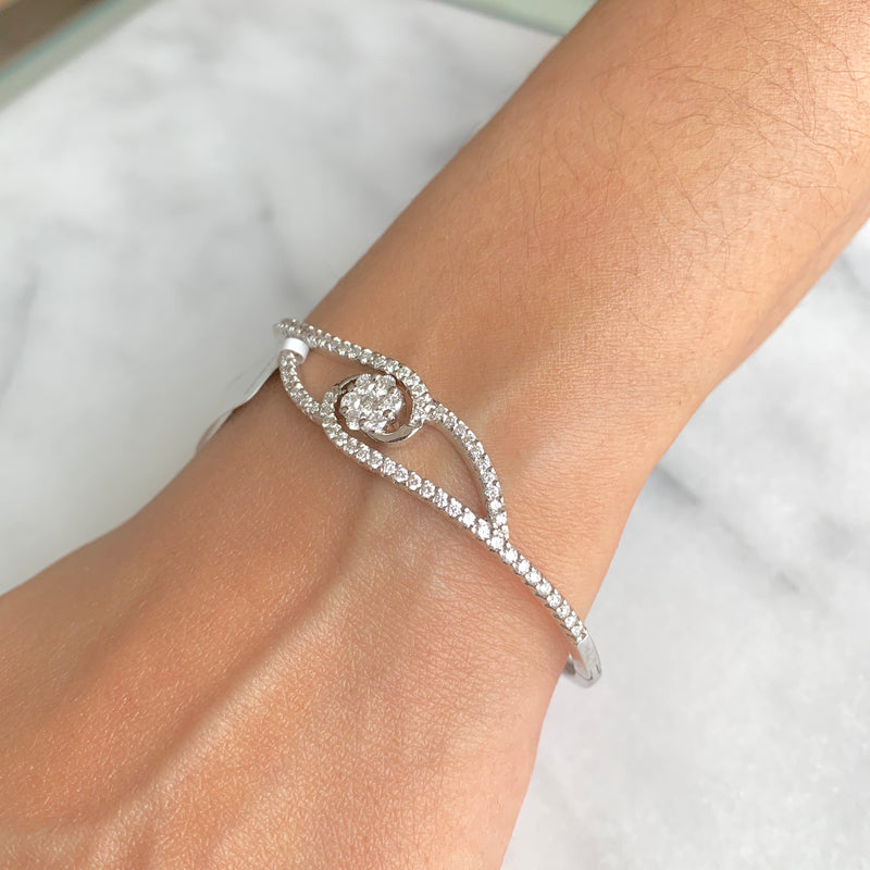 Floral Diamond Bangle Bracelet