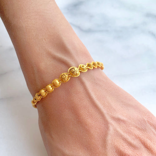 Wire Halo Gold Bangle Bracelet