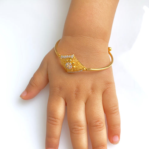 Diamond Shape Baby Bangle - Pair