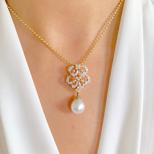 Swirl Diamond and Pearl Pendant