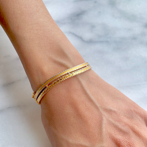 Double Wave Bangle Bracelet