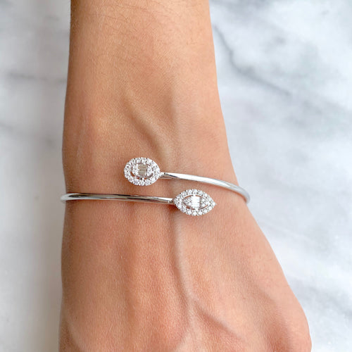 Stylish Two Shape Diamond Bangle