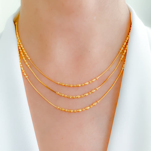 Three Chain Layered Necklace Set