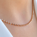 Rose + White Gold Bead Chain