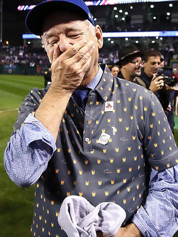 Bill Murray in Old Fashioned Polo at Cubs World Series