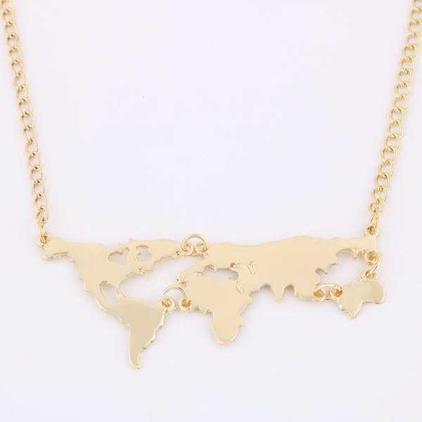 Gold Color World Map Pendant Necklace
