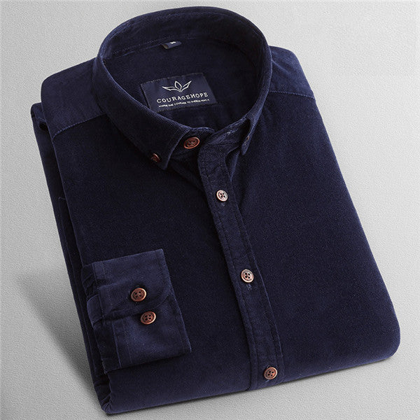 2017 Corduroy Men Shirts Cotton Mens Dress Shirts Solid Color Long Sleeve Vintage Flannel Casual Shirt Men Slim Fit 4XL X570