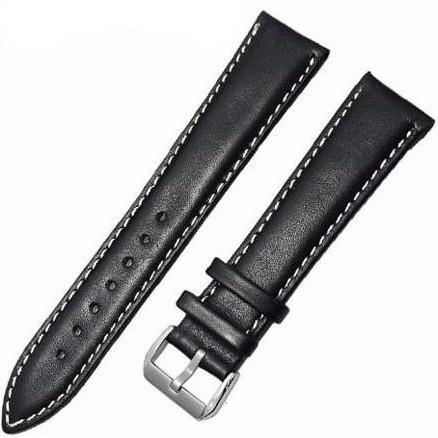 Leather Watch Strap - Black & White, Band Width - 20mm