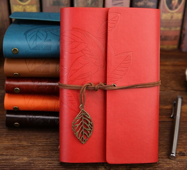 Retro Leaf Faux Leather Traveler Journal