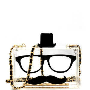 Mustache and Glasses Cross Body Clutch