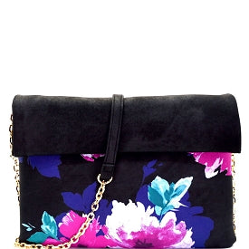Flower Print Roll-Up Clutch