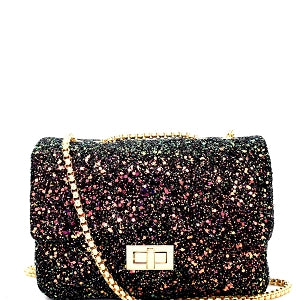 Glitter Turn-Lock Crossbody