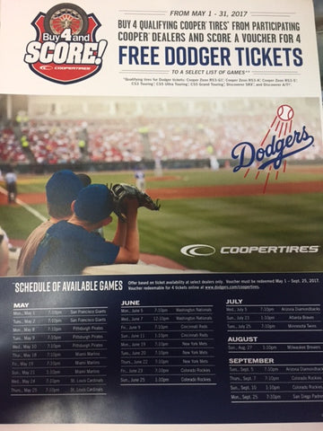 Cooper Tires Tickets to a Dodger Game