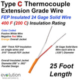 Type C Thermocouple Extension Wire 24 Gage Solid with FEP Insulation -25ft Spool