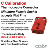 C Type Thermocouple Connector Miniature Female