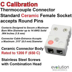 Thermocouple Connectors Standard Size Ceramic Female Type C