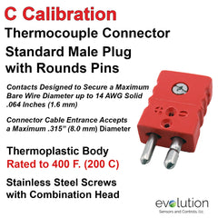 Thermocouple Connectors Standard Size Male Type C