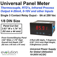 Universal Panel Meter - Thermocouple, RTD's, Infrared Process 4-20mA, 0-10 V with Relay Output