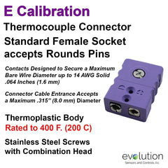 Thermocouple Connectors Standard Size Female Type E