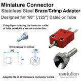 Thermocouple Connector Accessories Mini SS Crimp Adapter .125 Probe