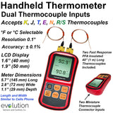 Handheld Thermometer with Dual Thermocouple Inputs
