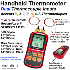 Handheld Thermocouple Meter with Dual Thermocouple Inputs