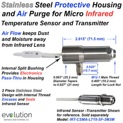 Stainless Steel Protective Housing and Air Purge for Infrared Temperature Sensor