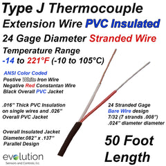 Type J Thermocouple Extension Wire 24 Gage Stranded PVC Insulated 50 ft Long