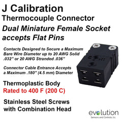 Thermocouple Connectors Miniature Duplex Female Type J